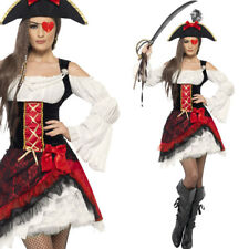 Ladies Pirate Fancy Dress Costume with Hat – Sexy Red and Black Pirate Outfit
