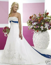 New Embroidery white and blue wedding dress custom size 2-4-6-8-10-12-14-16-18+