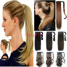 Clip In Ponytail Pony Tail Hair Extensions Wrap Around On Wavy Straight Style hd