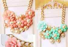 New Design Gold Pearl Chain Resin Beads Rose Flower Bib Crew Necklace Gift P46