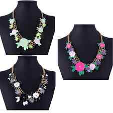 18K Gold Enamel flower acrylic choker collar bib statement chain necklace P57
