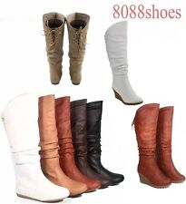 Flat Slouch Round Toe Zipper Lace Mid-Calf Knee High Boot Shoes Size 5 - 10 NEW