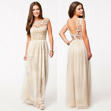 Womens Vintage Beige Lace Backless Long Maxi Evening Formal Cocktail Party Dress