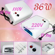 36W US 110V 220V Nail Art Dryer UV Gel Lamp Light With 4 X 9W Salon Curing Tube