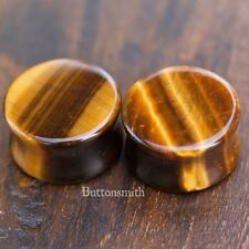 Pair of Tigers Eye Stone Plugs Double Flared ear lobe - 6mm to 25mm -10 sizes