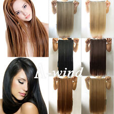 "24"" 60cm Women Long Straight clip in hair extensions Black Brown Blonde 6 color"