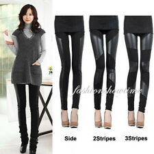 Fashion Women's Sexy Black Leggings Stitching Faux Leather Stretchy Pants 3Style