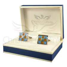 Brown & Blue Square Fashion Designer Cufflinks - Mens Gift Clothing Contemporary