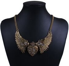 Gold silver tone bling rhinestone angel's wing heart love pendant chain necklace