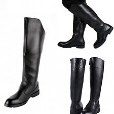 Faux Leather Shoes Stylish Mens Worker Military  Knee High Riding Zipper Boots