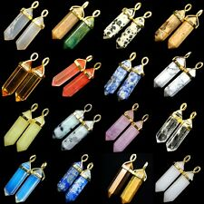 Natural Gemstones Crystal Gold Cap Healing Pointed Reiki Chakra Pendant Beads