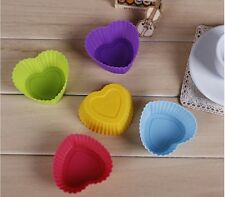 7cm Lovely Heart Shape Muffin Silicone Cupcake Bake Pudding Chocolate Mold