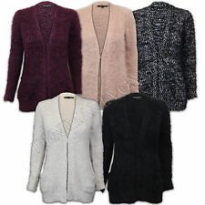 ladies cardigan womens mohair knitted open front eyelash fluffy winter casual