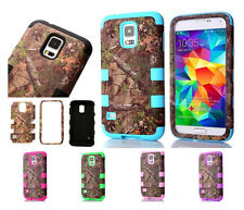 Camo Tree Hybrid Tough Black Rubber Hard Case Cover For Samsung Galaxy S3 S4 S5