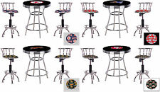 "FC131 3 PC SPORTS THEMED BLACK BAR TABLE SET W/ 2 24""-29"" ADJUSTABLE BAR STOOLS"