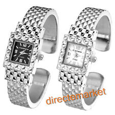 New Trend Women Girl Lady Silver Square Bracelet Bangle Alloy Band Wristwatch