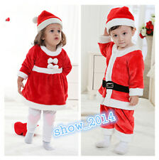 Baby Toddler boy girl One-Piece Santa with Hat Christmas Outfit Xmas Costume set