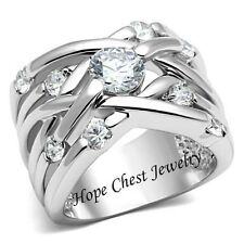 WOMEN'S SILVER TONE WEAVING DESIGN WIDE BAND CZ ANNIVERSARY RING - SIZE 5 - 10