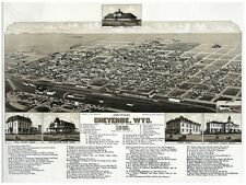 5970.Cheyenne Wyoming.small border down.birds eye view.POSTER.Home Office art