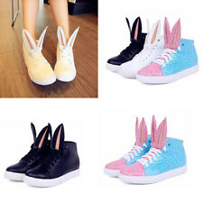 New Women Shoes Flats Lace Up Cute Bunny Ears Hip-Hop Oxfords Fashion Sneaker