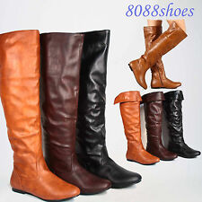 Fashion Cute Low Heel Mid-Calf Knee High Round Toe Flat Boot Shoes Size 6 - 11