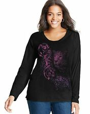 JMS Long-Sleeve Scoop-Neck Graphic Tee Shirt - Leopard Festivus Print J037