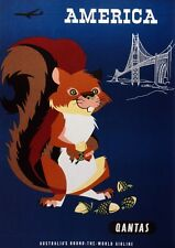 6335.American.chipmonk with acorns.australian air line.POSTER.Home Office art