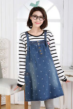 New Dress Denim Overalls Dungarees Strappy Embroidery Cute Trendy Comfy S/M/L/XL