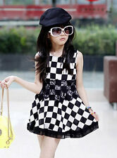 Newest Kids Toddlers Girls Black &White Grating Petticoat Dress Skirt Sz 5-10 Y