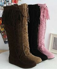 Ladies Womens Fashion Faux Suede Slouchy Boho Fringe Mid Calf Boots Shoes