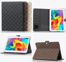 Luxury Deluxe Grid Leather Stand Case Cover For Samsung Galaxy Tab 4 10.1 T530