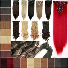 8Pcs Long Curly Wavy Straight Full head clip in on hair extensions 30 Colors USA