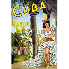 CUBA Holiday Isle Tropics Retro Style TRAVEL POSTER Giclee Art Print - 3 Sizes