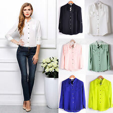 Women Stand Collar Long Sleeve versatile clothes Solid Chiffon Shirt Blouse top
