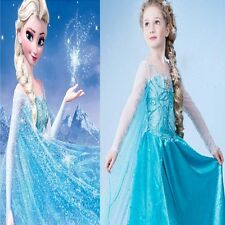 Frozen Princess Elsa Girl Party Dress Baby Wedding Gown Dress Custom Cosplay