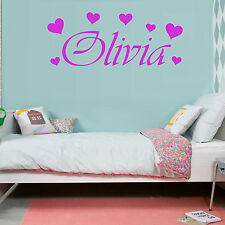 HEARTS Love Girls Bedroom Personalised ANY NAME Vinyl Wall Art Sticker Decal Ft8