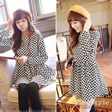 Korean Women Cute Long Sleeve Floral Print Empire Casual Skater Flared Dress S