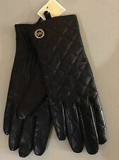 "New! $88 Michael Kors w Silver MK Logo Quilted Black Leather Gloves ""FREE SHIP"""