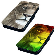 Lion Face Printed Faux Leather Flip Phone Cover Case