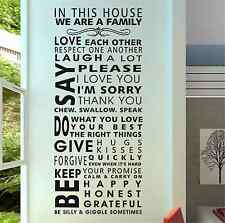 In this house we are a Family quote mural art words wall sticker UK