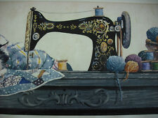 Sewing Machine /Cat on a Quilt with balls of Yarn Sewing Room  Wallpaper Border