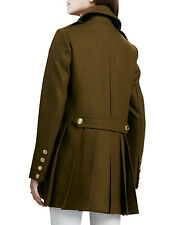 NWT $1,095 Burberry Brit Wool Double Breasted Back Pleat Trench Coat SZ 8 10