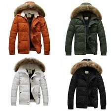 Casual Thicken Parka Men's Fur Collar Hooded Coat Zippered Cotton Padded Jacket