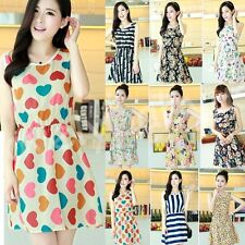 M L XL Fashion Women Summer Floral Dots Sleeveless Casual Beach Chiffon Dresses
