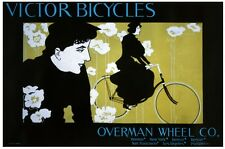6935.Victor bicycles.overman wheel co.woman riding bike.POSTER.art wall decor