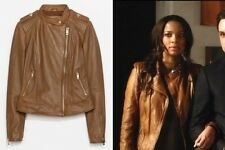 NEW ZARA 2014 BROWN REAL LEATHER BIKER JACKET WITH ZIPS ALL SIZES RARE