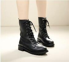 Womens Ladies Black Army Biker Lace Up Low Heel Military Combat Ankle Boots Size