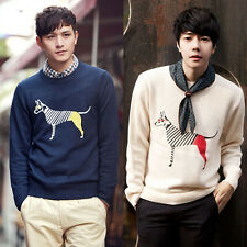 Men's Round Collar Knit Knitwear Tops Korean Print Casual Slim Sweaters Pullover