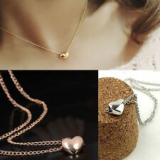 Style New Gold Plated Heart Womens Bib Statement Chain Jewelry Pendant Necklace