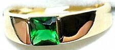 Men's 7mm Emerald 18k Gold Filled Band Ring   May Birthstone  9A927